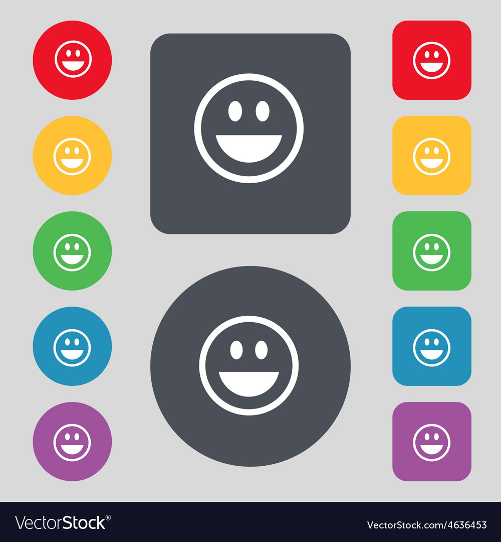 Funny face icon sign a set of 12 colored buttons vector | Price: 1 Credit (USD $1)