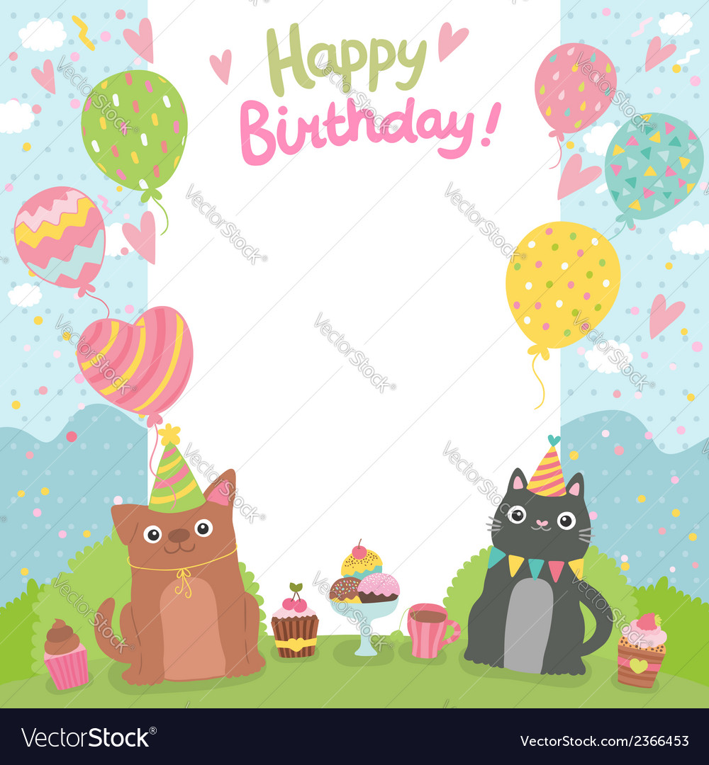 Happy birthday card background with dog and cat vector | Price: 1 Credit (USD $1)