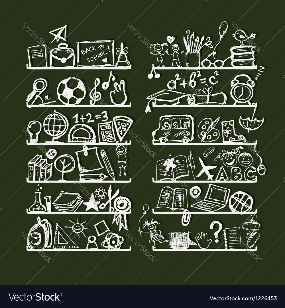 Objects for school on shelves sketch drawing for vector | Price: 1 Credit (USD $1)