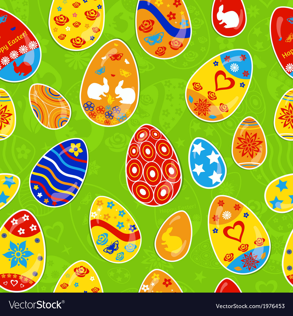 Seamless multicolored pattern of easter eggs vector | Price: 1 Credit (USD $1)