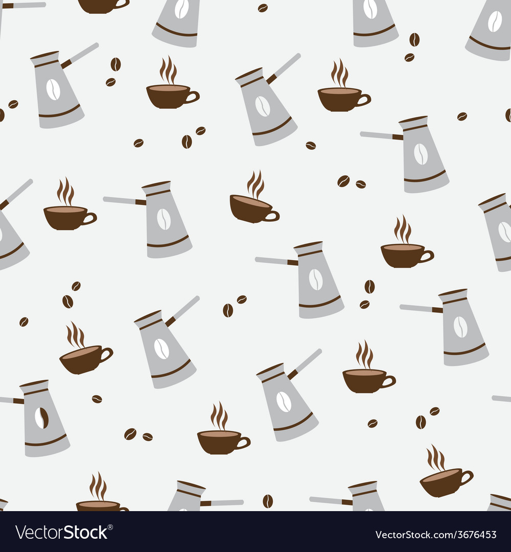 Seamless pattern cute cup of coffee and turkish vector | Price: 1 Credit (USD $1)
