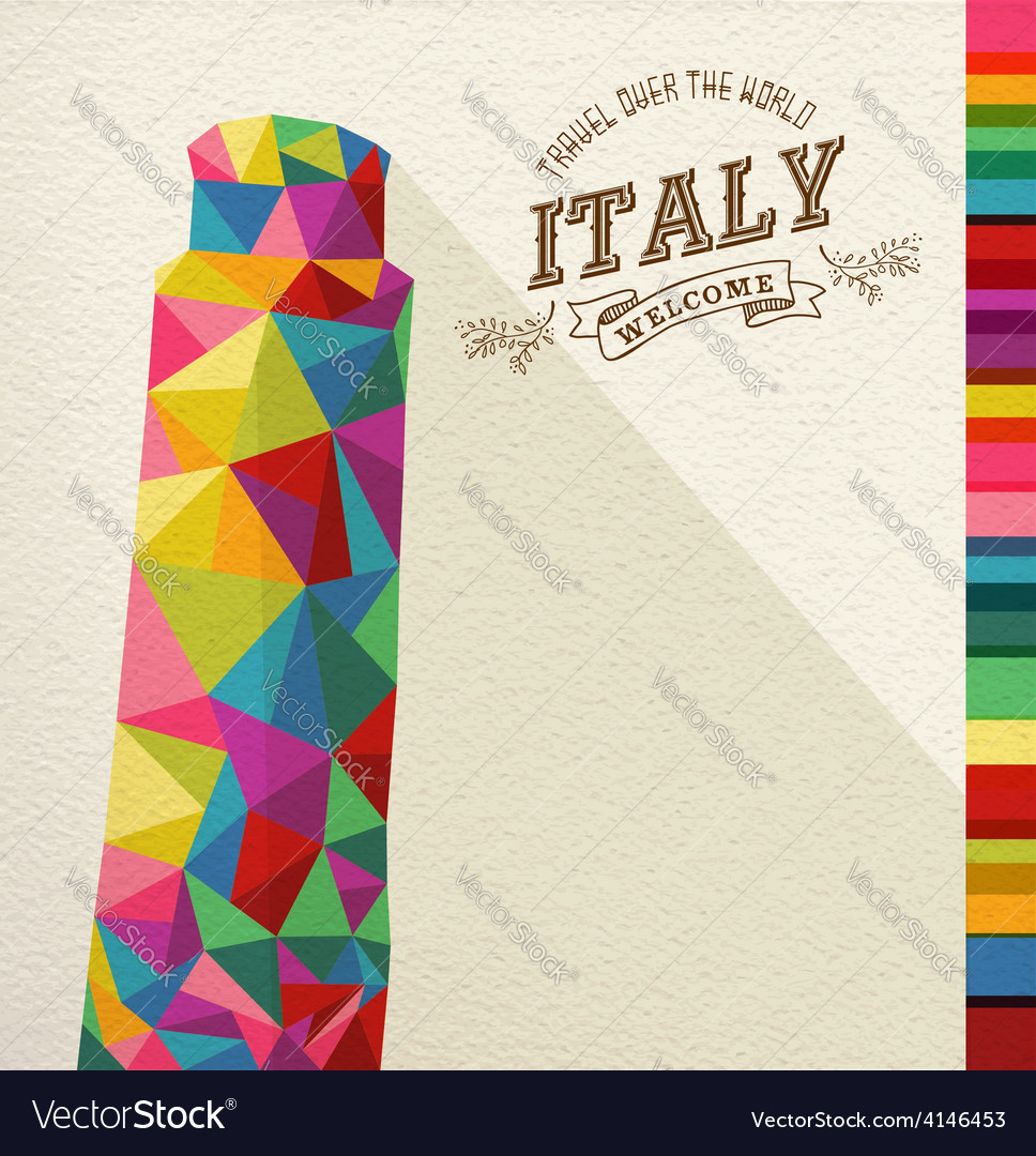 Travel italy landmark polygonal monument vector | Price: 1 Credit (USD $1)
