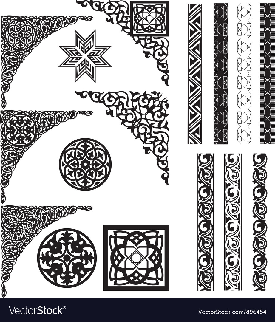 Arabic ornament corners vector | Price: 1 Credit (USD $1)
