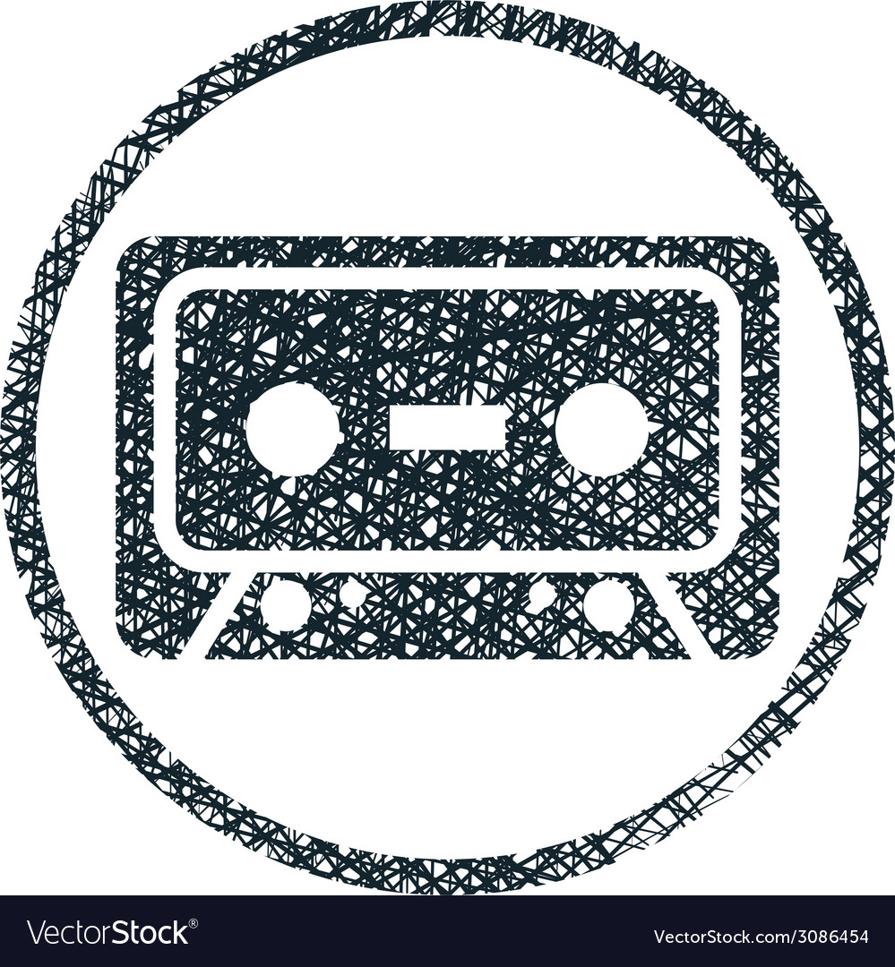 Audio cassette tape icon with hand drawn lines vector | Price: 1 Credit (USD $1)