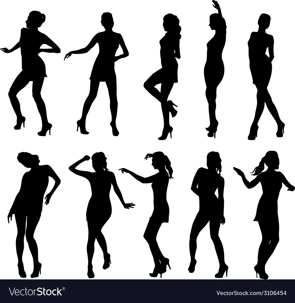 Beautiful women dancing silhouette isolated vector | Price: 1 Credit (USD $1)