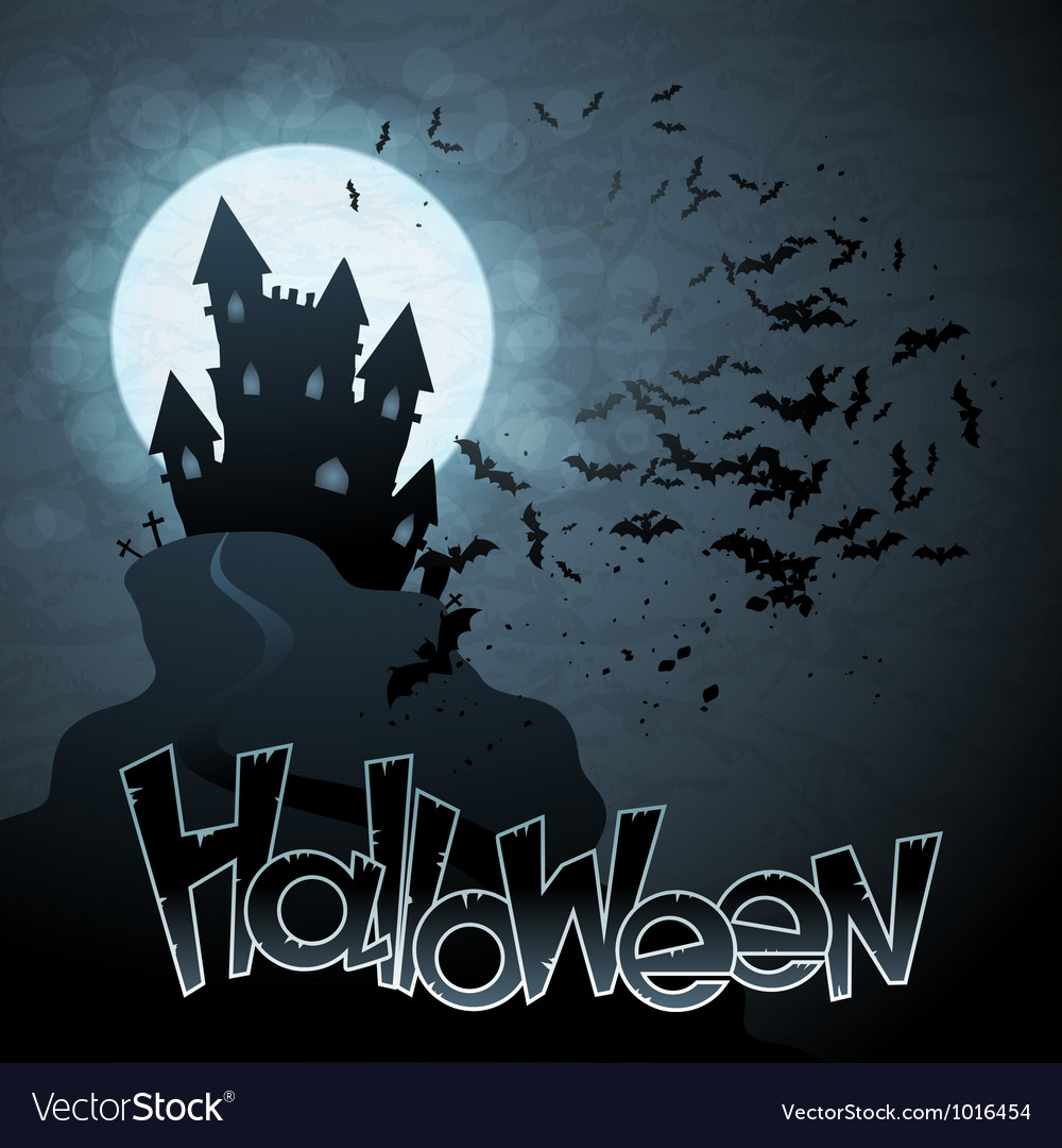 Eps 10 halloween background with moon bats vector | Price: 1 Credit (USD $1)