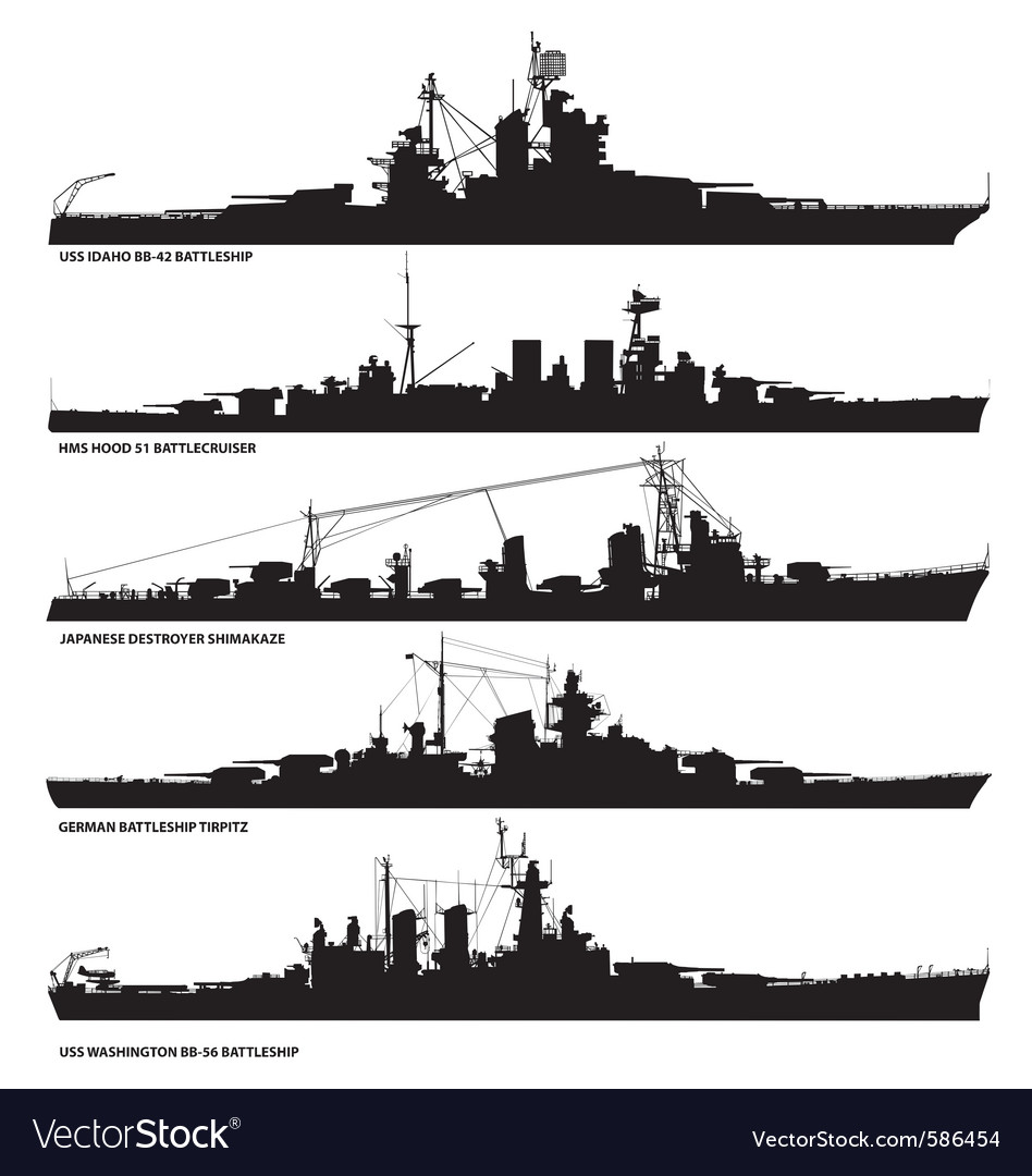 Naval warship silhouettes vector | Price: 1 Credit (USD $1)