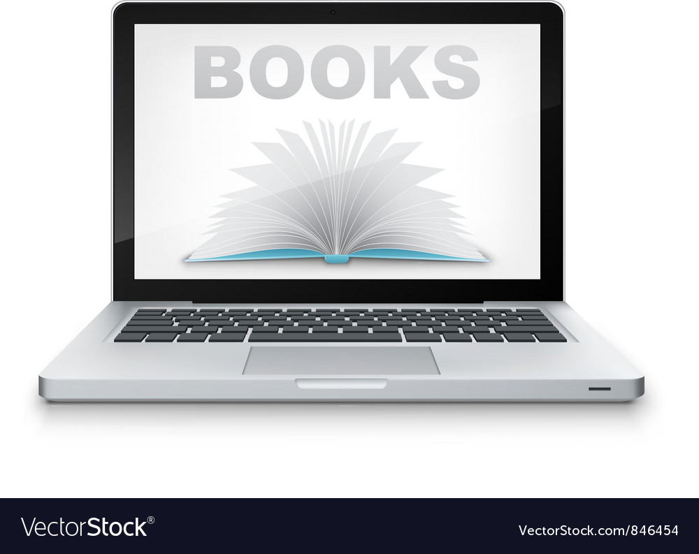 Open book in laptop vector | Price: 1 Credit (USD $1)
