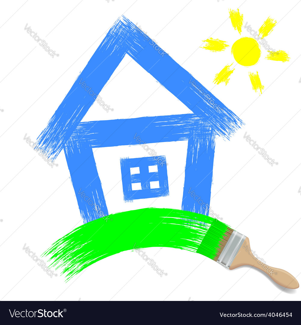 Paintbrush painting a house on a white background vector | Price: 1 Credit (USD $1)