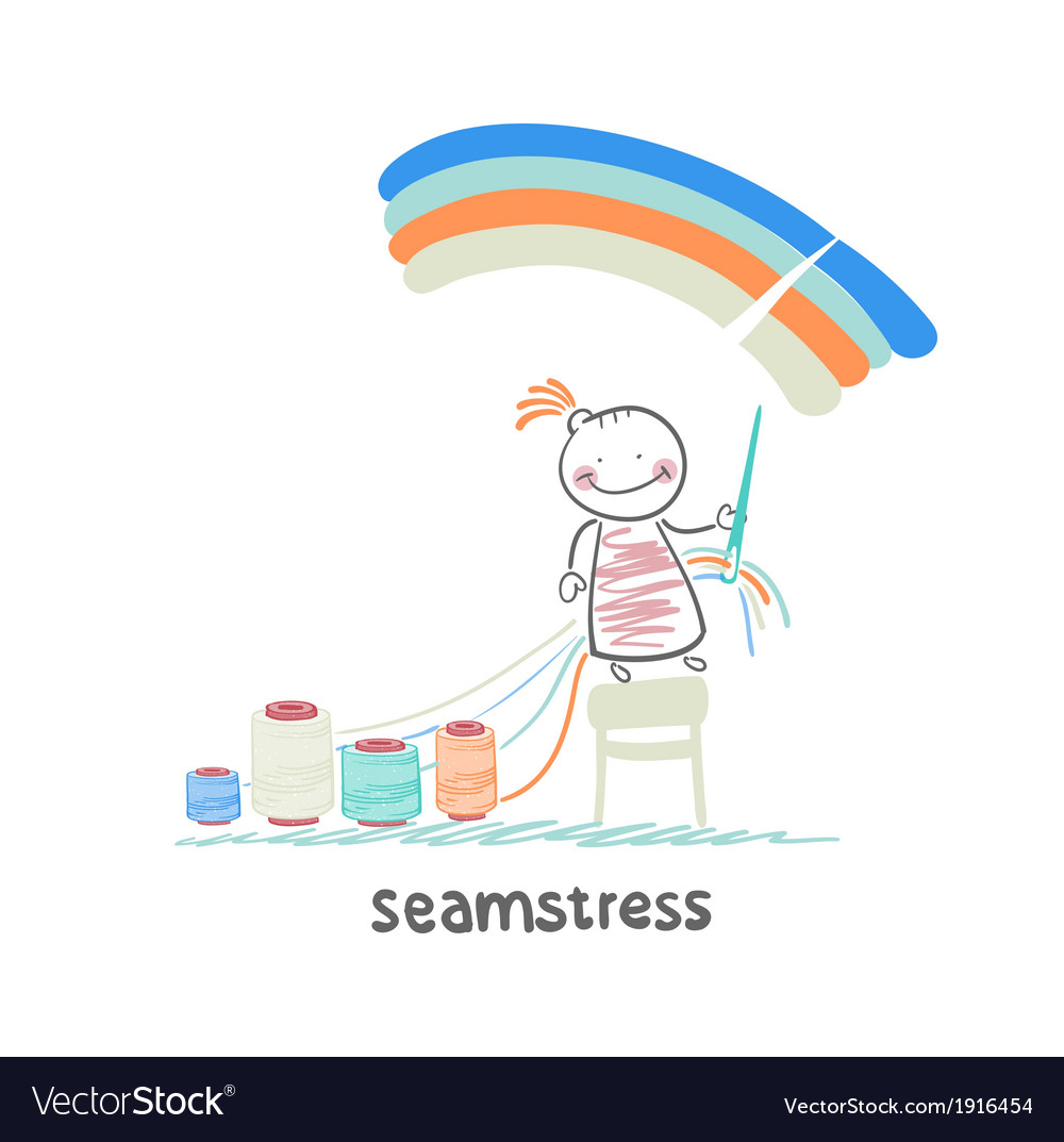Seamstress sewing colored threads on a rainbow sky vector   Price: 1 Credit (USD $1)
