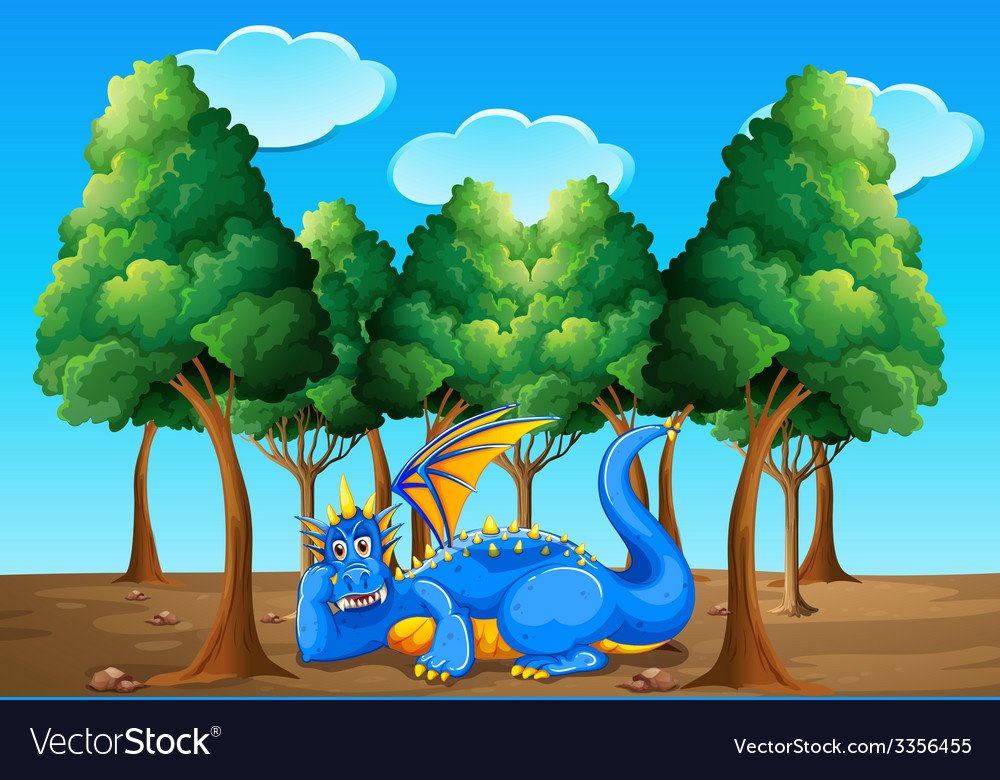 A dragon under the trees vector | Price: 3 Credit (USD $3)