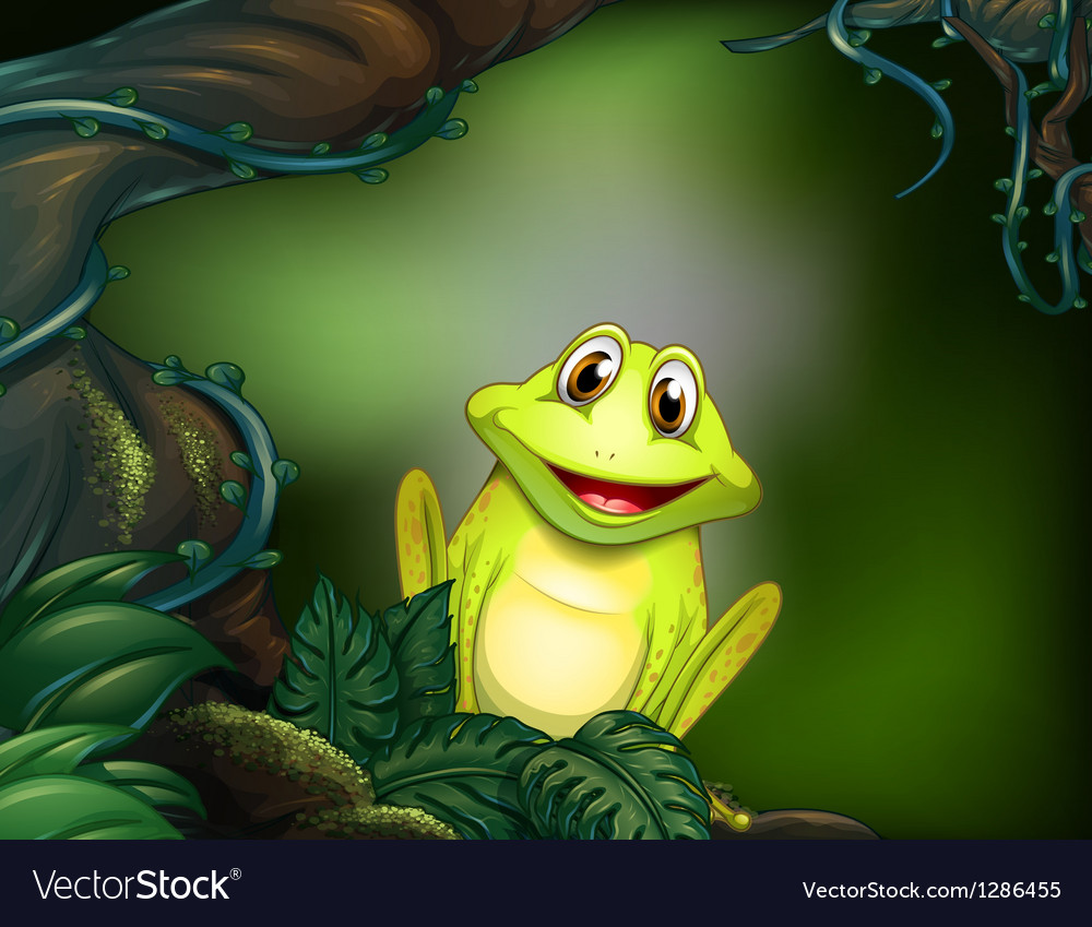 A green frog in the jungle vector | Price: 1 Credit (USD $1)