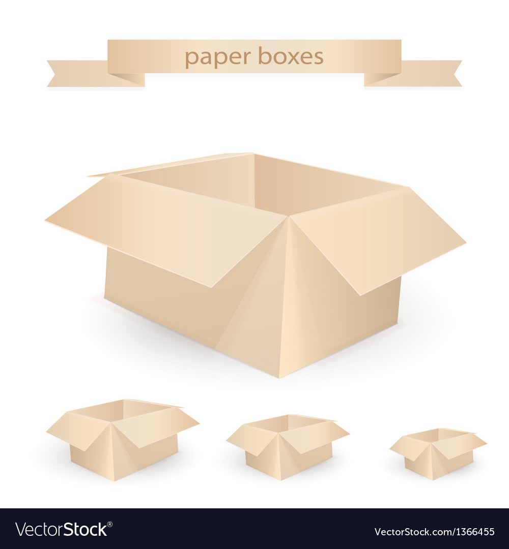 Cardboard boxes isolated on white realistic vector | Price: 1 Credit (USD $1)