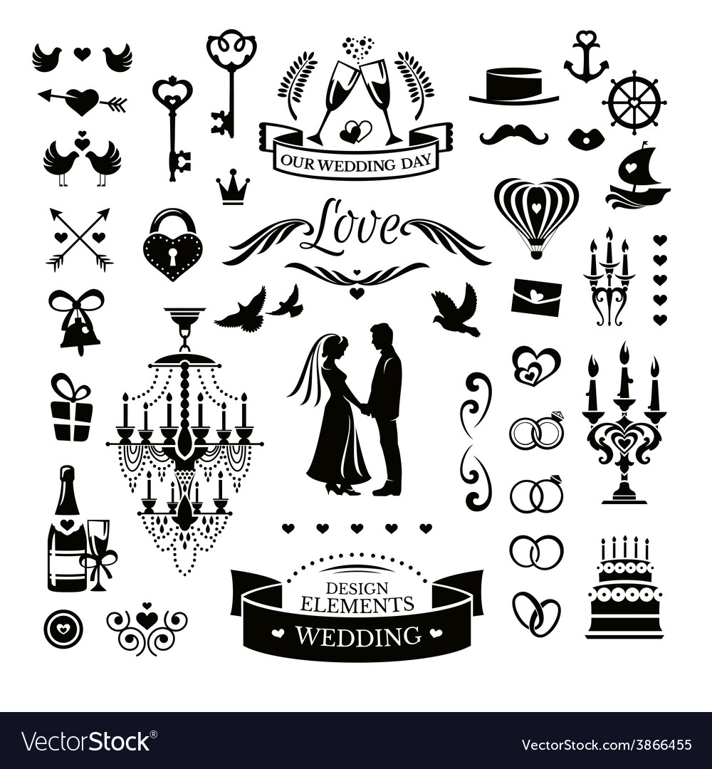 Collection of wedding icons and elements vector | Price: 1 Credit (USD $1)