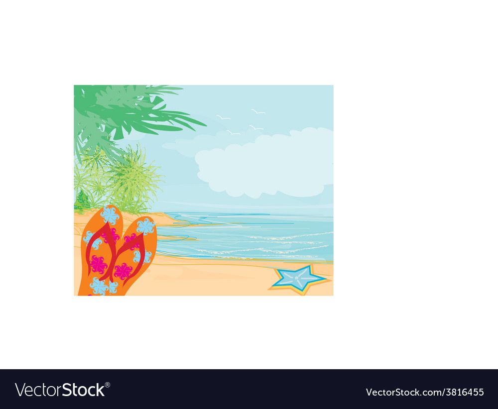 Flip-flops and seashell on the beach vector | Price: 1 Credit (USD $1)