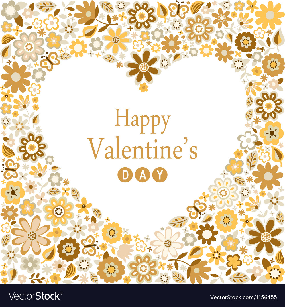 Floral heart card happy valentine day vector | Price: 1 Credit (USD $1)