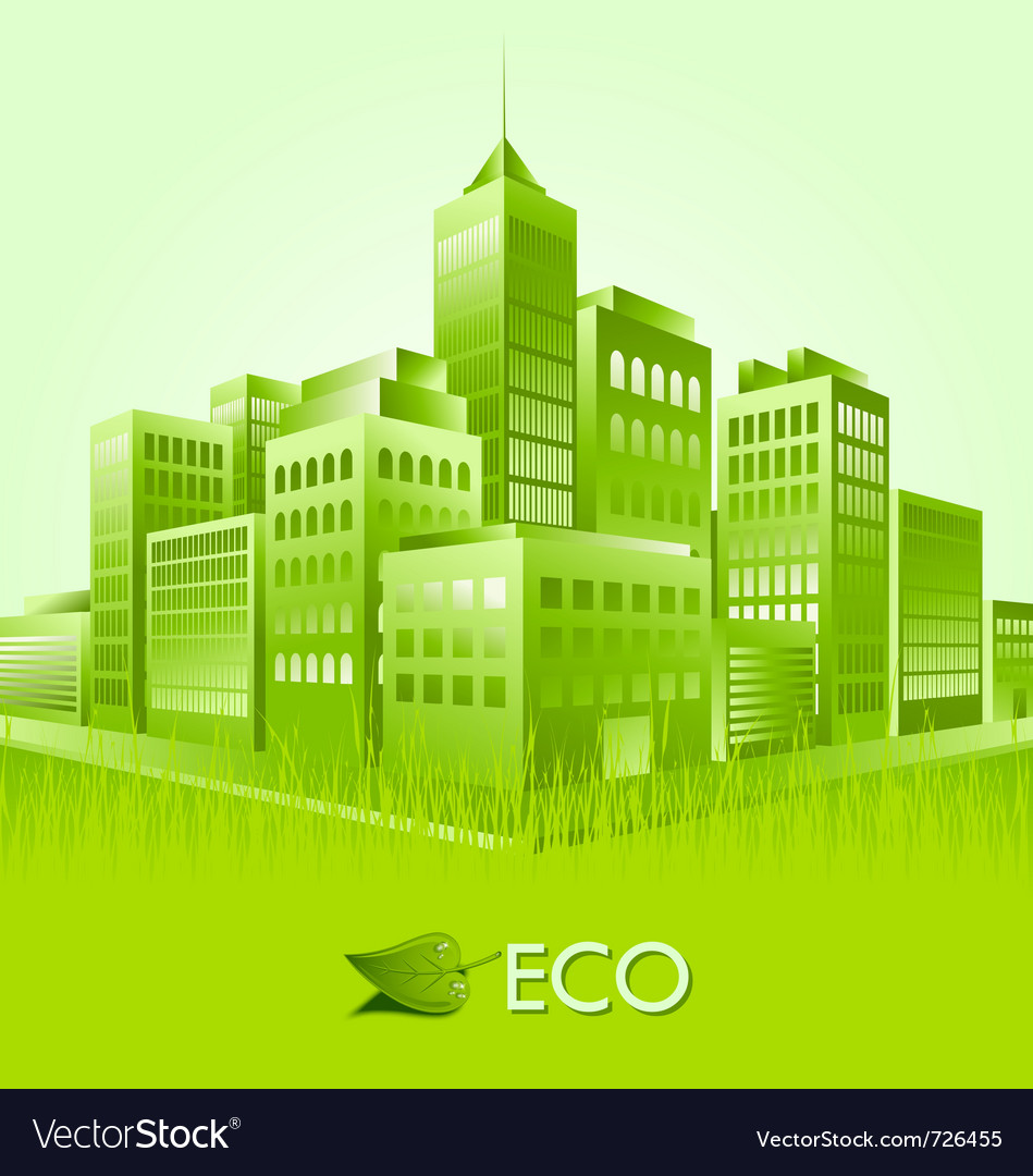 Green eco town suitable for ecologic purposes vector | Price: 1 Credit (USD $1)