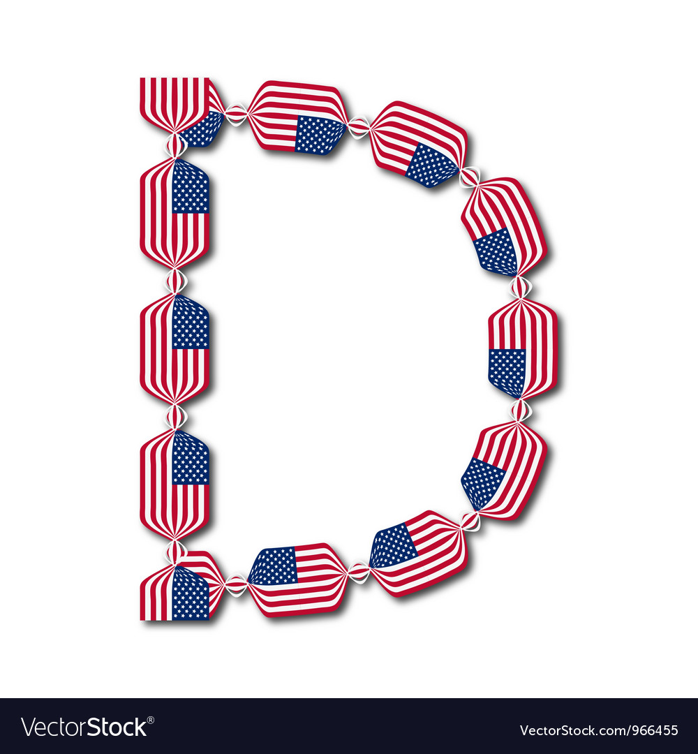 Letter d made of usa flags in form of candies vector | Price: 1 Credit (USD $1)