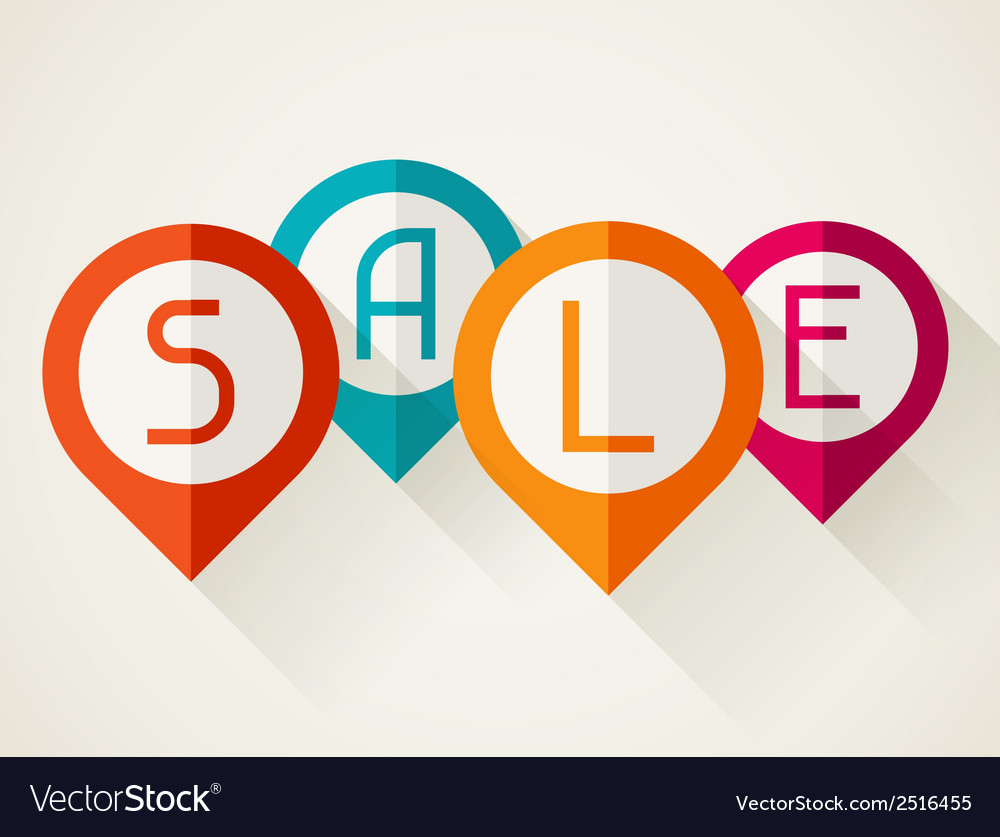 Sale poster with location markers in flat design vector | Price: 1 Credit (USD $1)