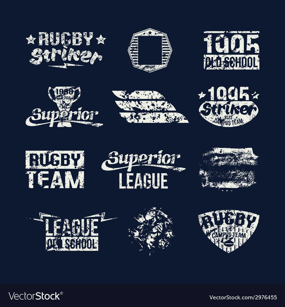 Set of badges college rugby team vector | Price: 1 Credit (USD $1)