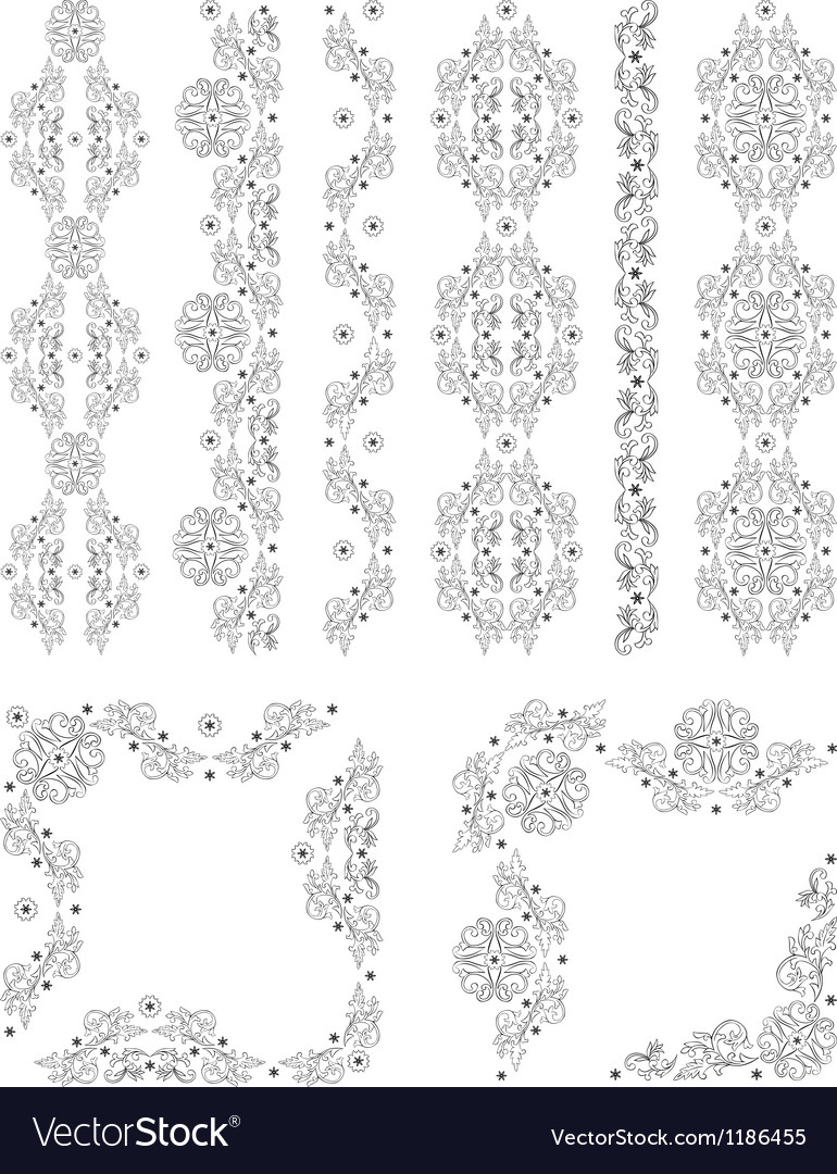Set of borders with floral elements vector | Price: 1 Credit (USD $1)