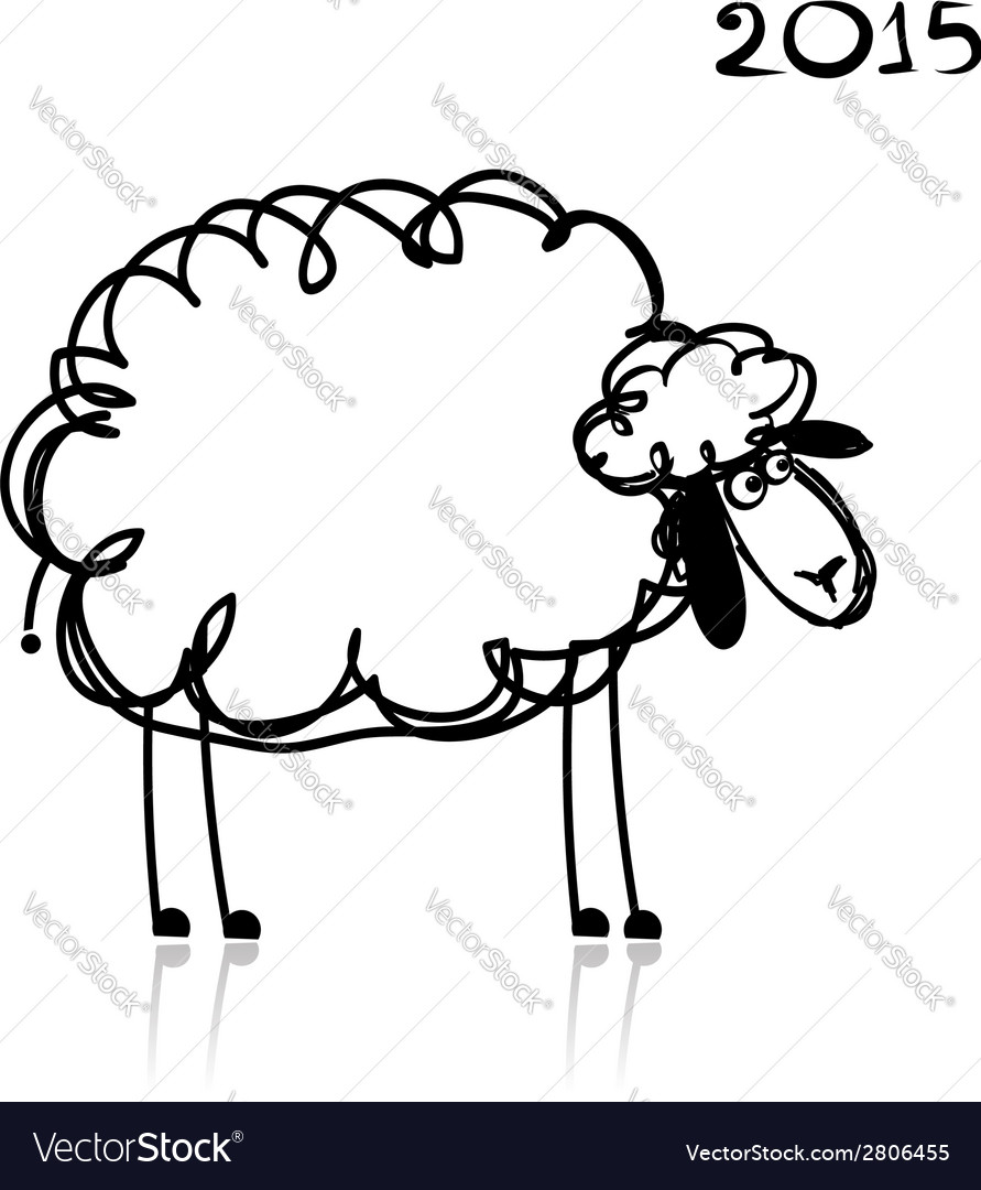 Sheep sketch symbol of new year 2015 vector | Price: 1 Credit (USD $1)