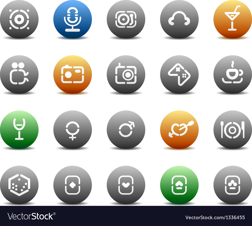 Stencil round buttons for entertaiment vector | Price: 1 Credit (USD $1)