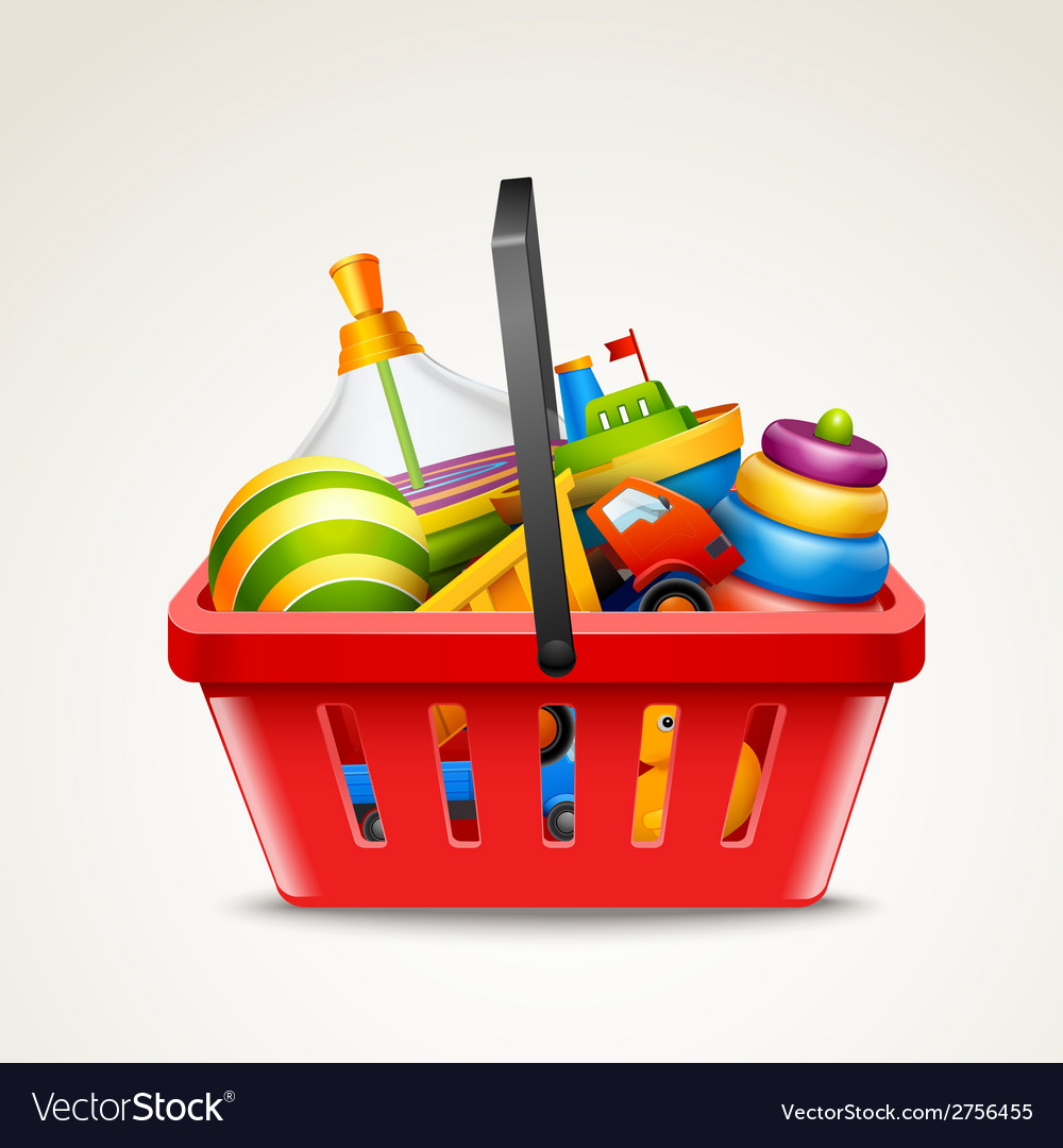 Toys in shopping basket vector | Price: 1 Credit (USD $1)
