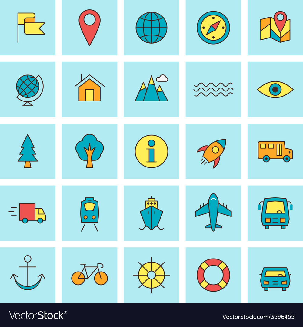 Travel and transportation icon set in flat design vector | Price: 1 Credit (USD $1)