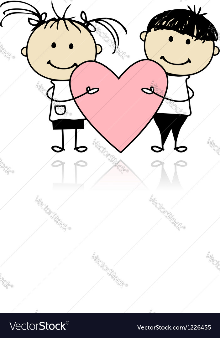 Valentine day children with big red heart for your vector | Price: 1 Credit (USD $1)