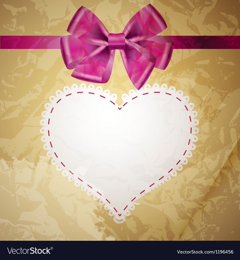 Beige vintage heart frame with glossy red bow vector | Price: 1 Credit (USD $1)