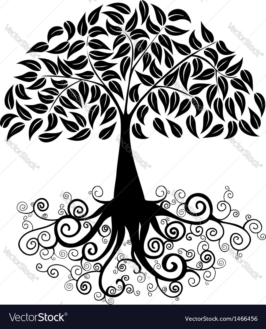 Big tree silhouette vector | Price: 1 Credit (USD $1)