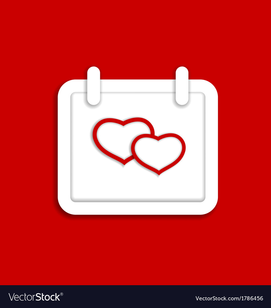 Calendar icon for valentines day with hearts vector | Price: 1 Credit (USD $1)