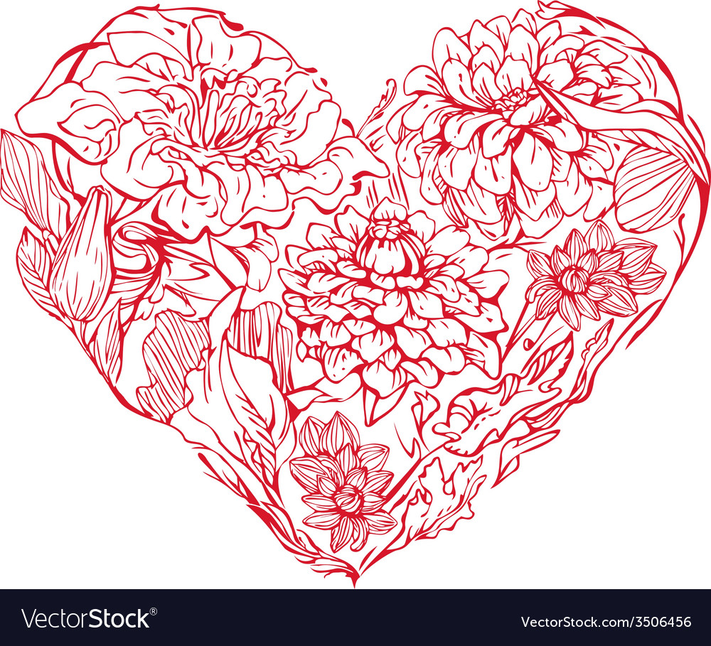 Heart flowers vector | Price: 1 Credit (USD $1)