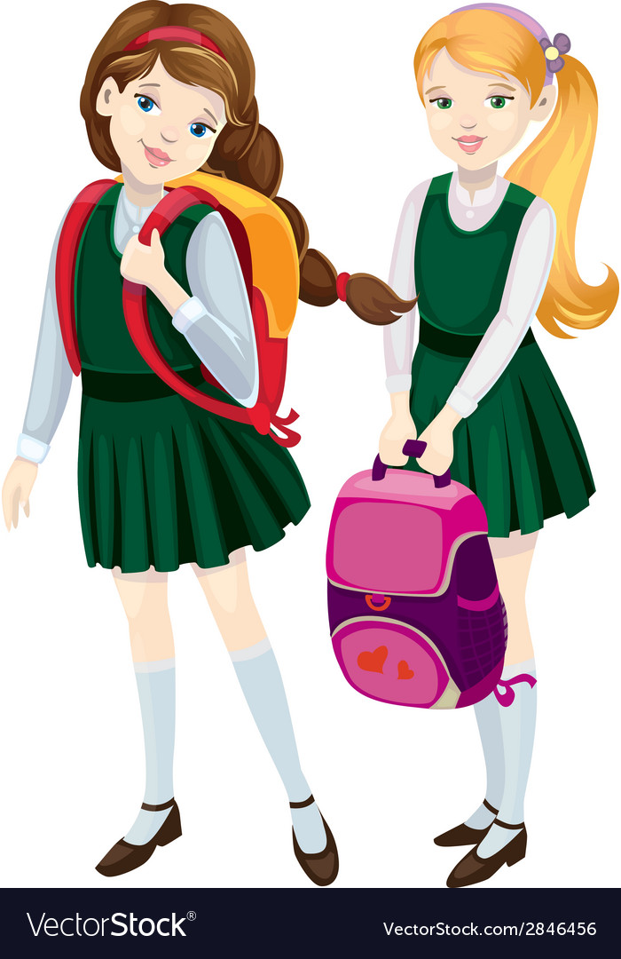 Schoolgirls vector | Price: 1 Credit (USD $1)