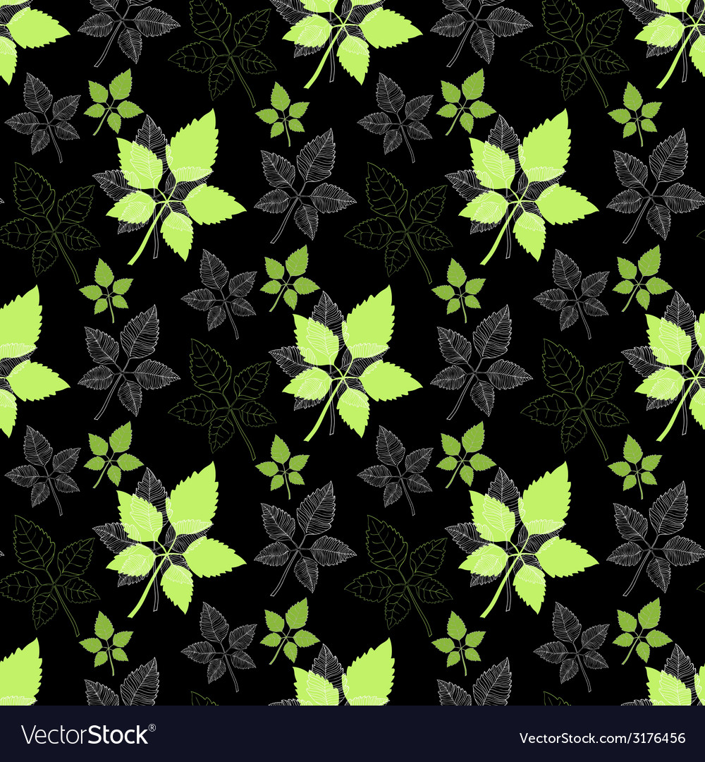 Seamless spring pattern green leaf vector | Price: 1 Credit (USD $1)