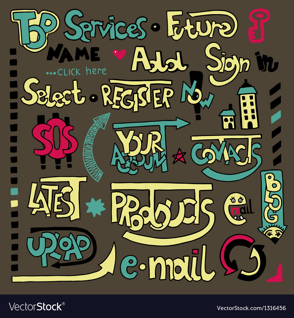 Set of hand draw lettering web design element vector | Price: 1 Credit (USD $1)