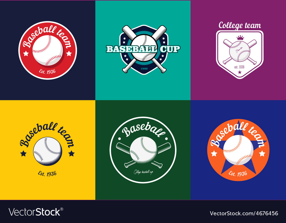 Set of vintage color baseball championship logos vector | Price: 1 Credit (USD $1)