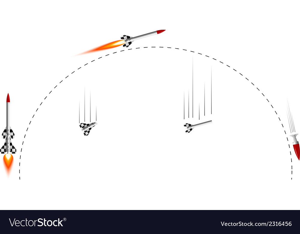 Two-stage rocket flight cycle vector | Price: 1 Credit (USD $1)