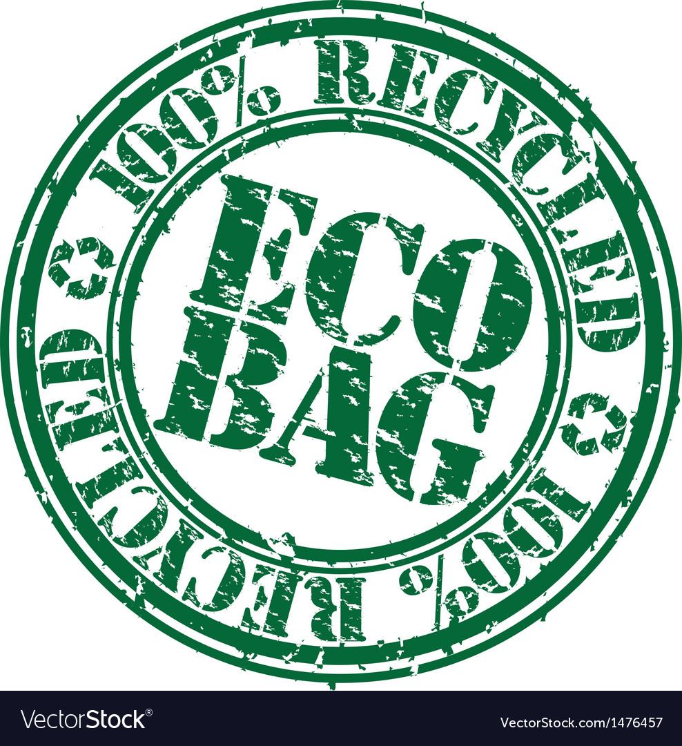 100 percent recycled eco bag stamp vector | Price: 1 Credit (USD $1)