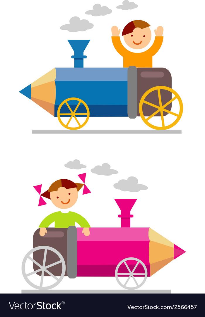 Boy girl crayon locomotive vector | Price: 1 Credit (USD $1)