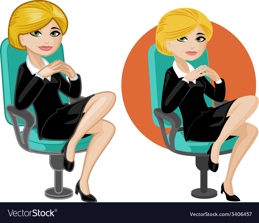 Cute young caucasian office woman on chair vector | Price: 3 Credit (USD $3)