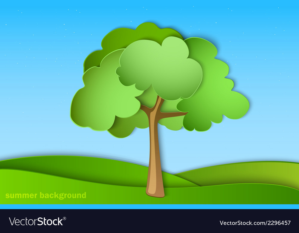 Green tree with summer vector   Price: 1 Credit (USD $1)