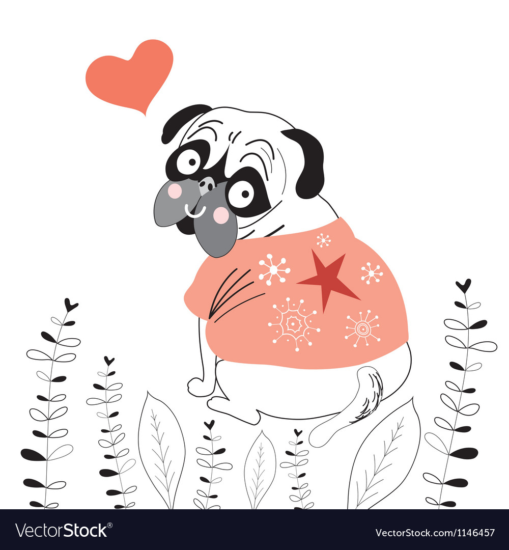 Pug lover vector | Price: 1 Credit (USD $1)