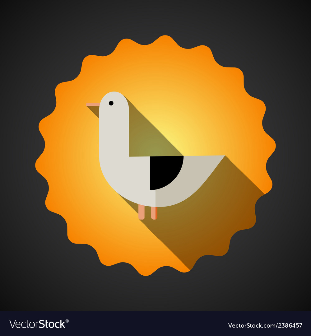 Summer travel seagull bird flat icon vector | Price: 1 Credit (USD $1)