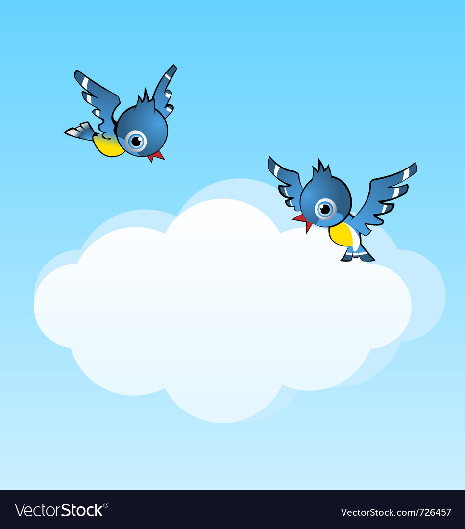 Two birds and copy space cloud vector | Price: 1 Credit (USD $1)