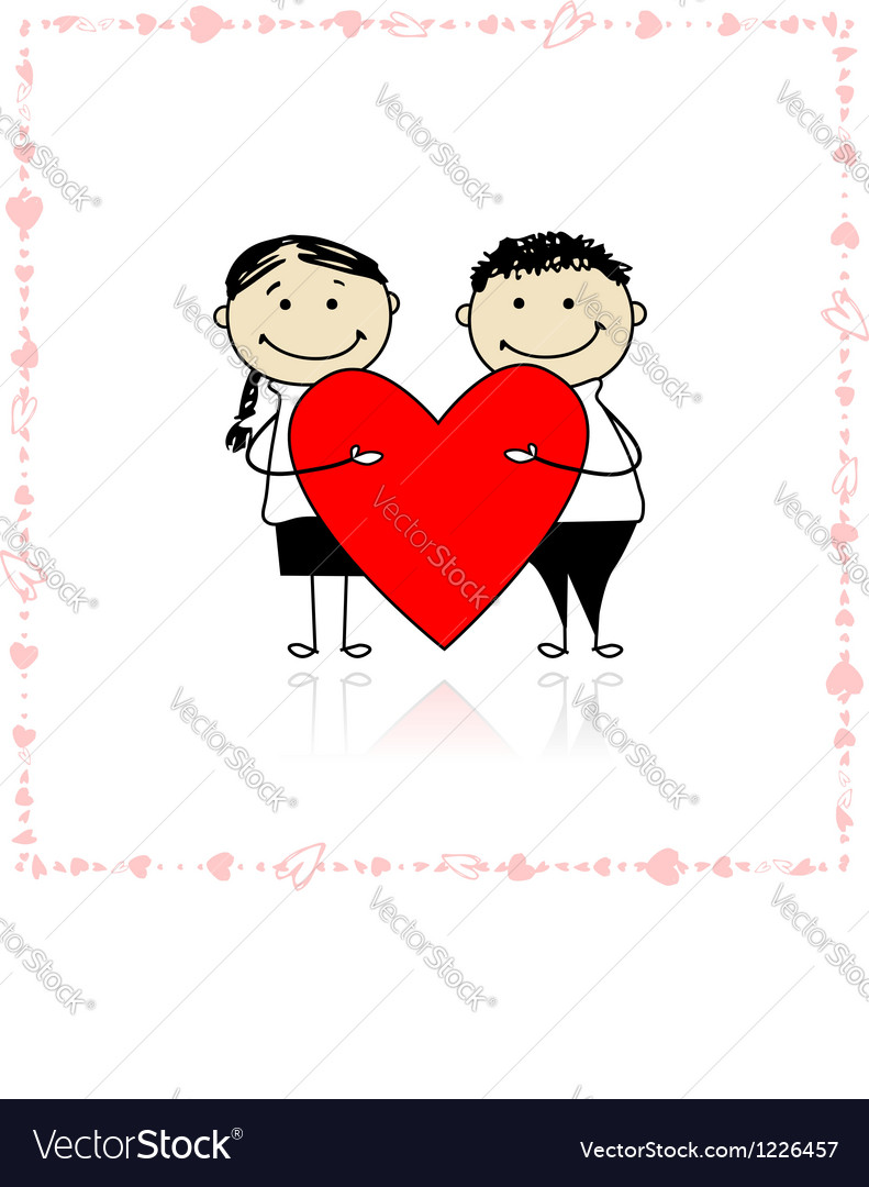 Valentine day couple with big red heart for your vector | Price: 1 Credit (USD $1)