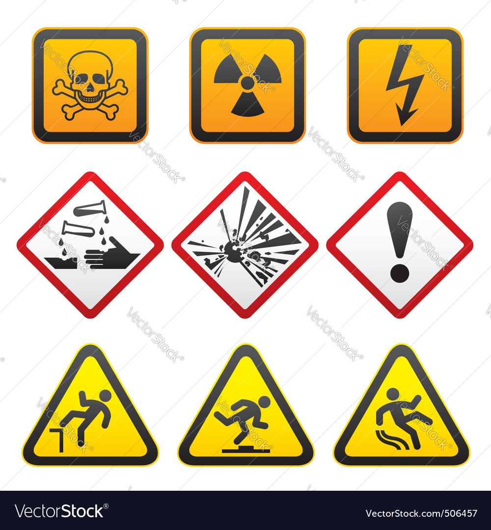Warning symbols  hazard signsfirst set vector | Price: 1 Credit (USD $1)