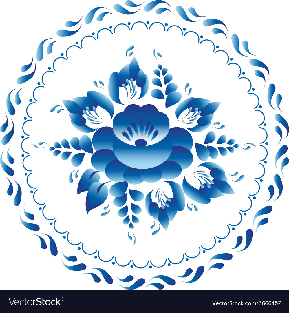 White and blue ornament flowers traditional vector | Price: 1 Credit (USD $1)