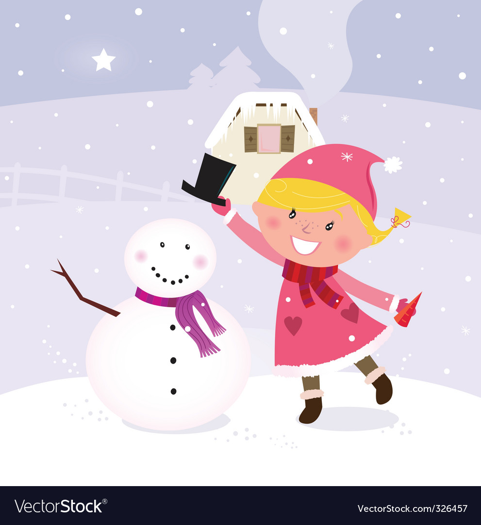 Winter girl making snowman vector | Price: 3 Credit (USD $3)